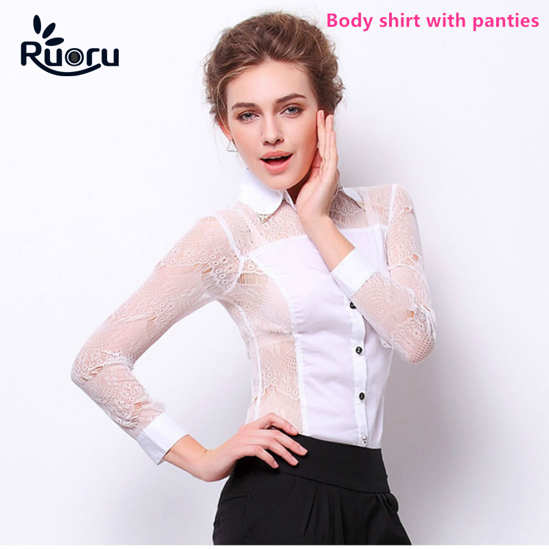 Ruoru Long Sleeve Tops Patchwork Lace Blouse Slim Fit Women Body Suit Sexy Crochet Body Blouse Black Office Shirt Top Femme