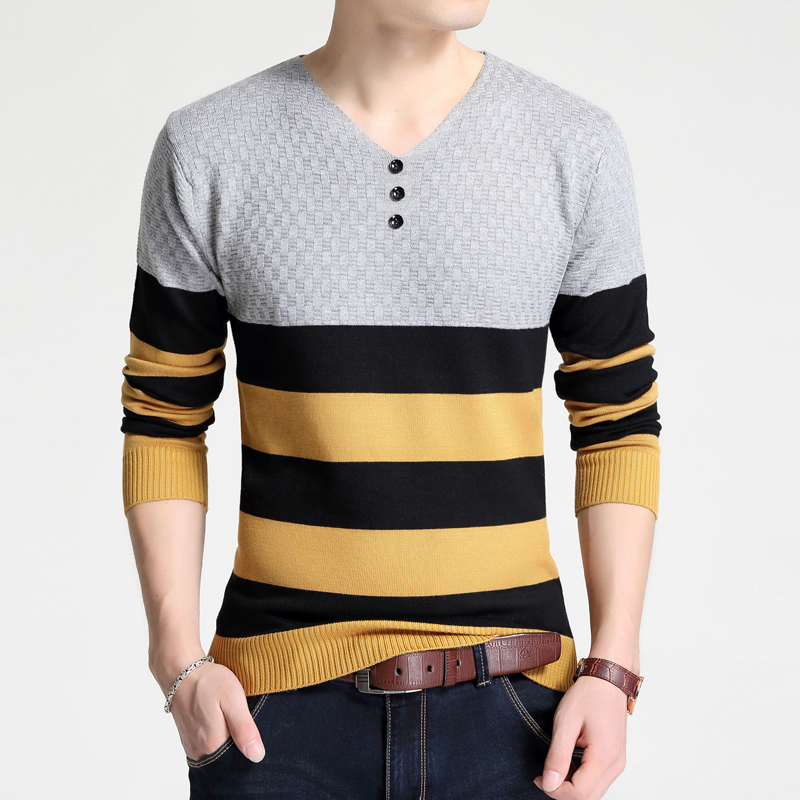 Sweater Hombre 2018 New Fashion Men's Sweater Casual Patchwork Men Knitted V-neck Long Sleeve Pullover Mens Brand Clothing