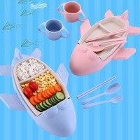 Cartoon Baby Tableware Bowl Piggy Wheat Straw Baby Dish Children 's Rice Bowl Plate Sub Plate Plate Baby Bowl Baby Kids Lunch8