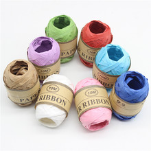 DIY 10m X 8rolls Colorful Raffia Ribbon Paper Rope Palm Packaging Baking Box Packing Party Candy Gifts Decorations