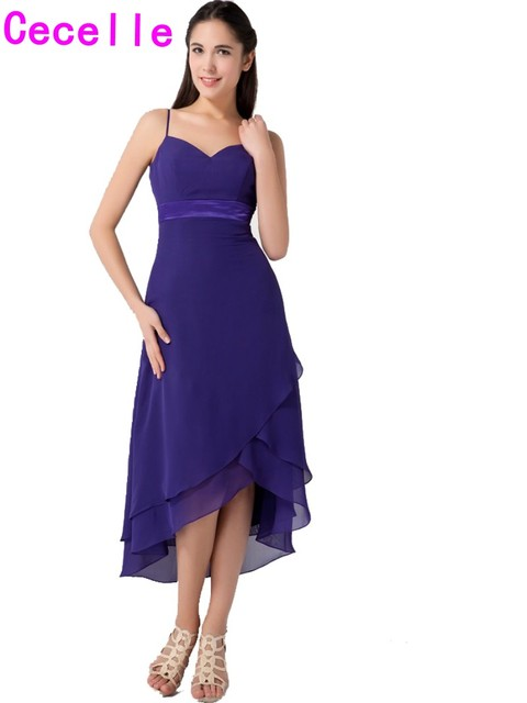 Purple High Low Informal Bridesmaid Dresses Spaghetti Straps Informal beach  Chiffon Short Front Long Back Maids of Honor Dress dd501c30dd72