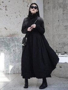 Image 3 - [EAM] 2020 nouveau printemps hiver col à volants à manches longues noir irrégulière grand ourlet pli ample longue robe femmes mode marée JI098