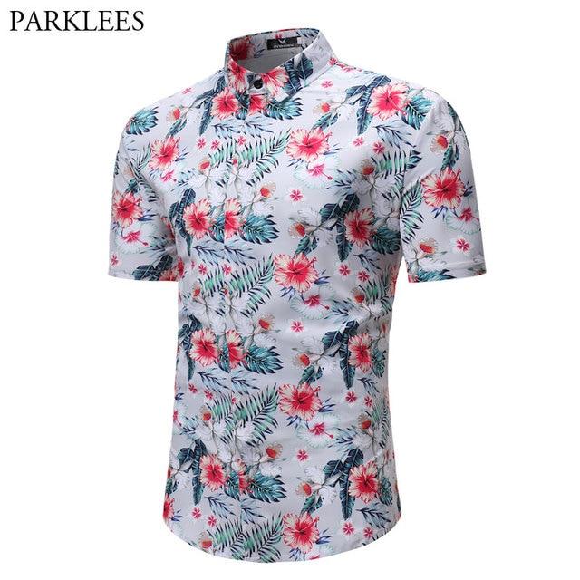 1b0934562e2 Verano moda camisas florales para hombre 2018 nuevo Slim Fit manga corta  hombres camisa hawaiana Casual
