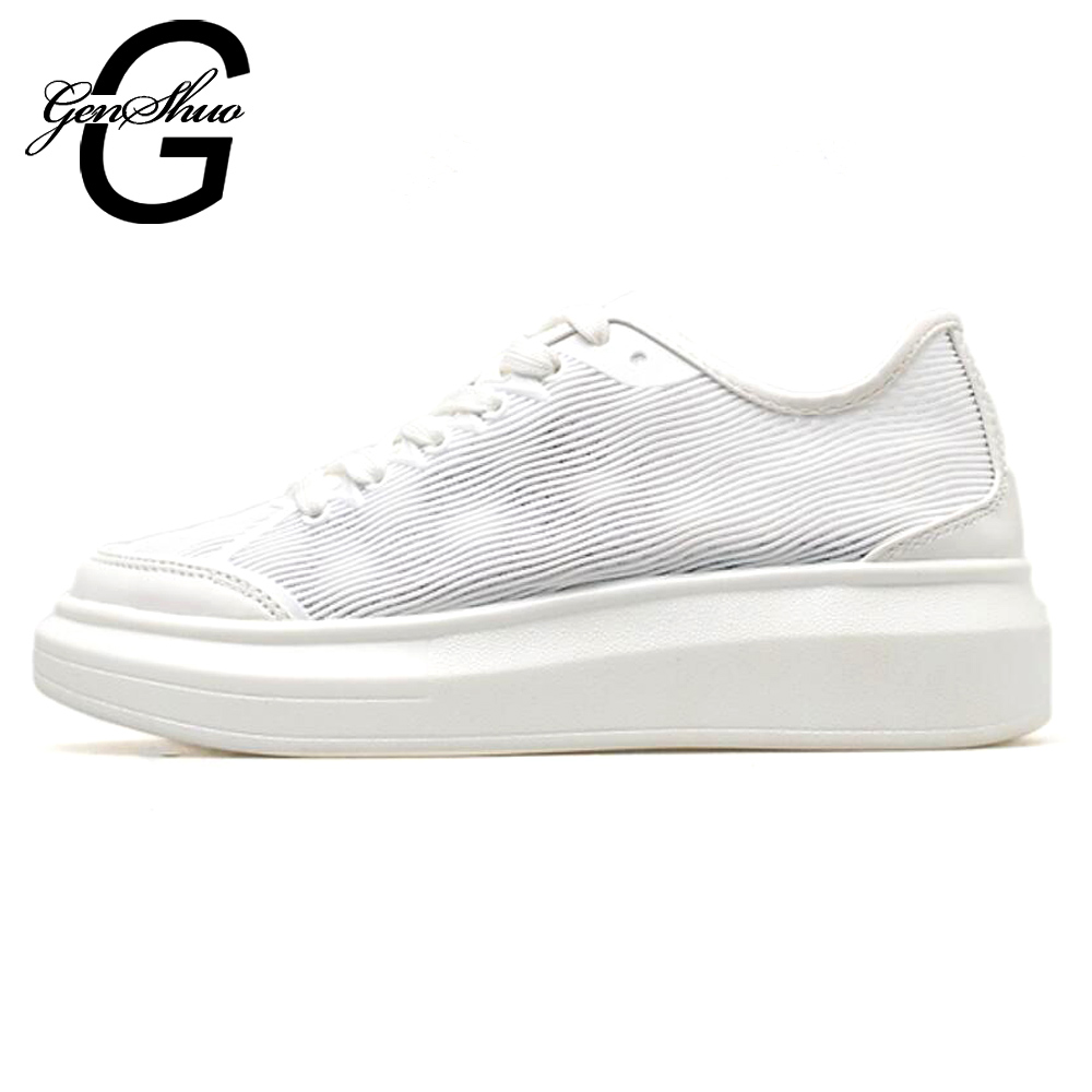 15b3facfa42af7 Up Mesh Femmes Sneakers Respirant Plat Blanc Dames Lace Genshuo White D'été  Chaussures Liée Occasionnels ...