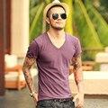 MEZCLAR LIMITADO 2017 nuevo Algodón del verano T-shirt de manga corta Hombres camiseta Slim Fit Camiseta de cuello en V de los hombres Ocasionales camiseta