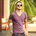 MIX LIMITADA 2017 nova Camiseta de Algodão verão Camisa de manga curta Dos Homens Slim Fit T Shirt Ocasional dos homens V pescoço T-shirt