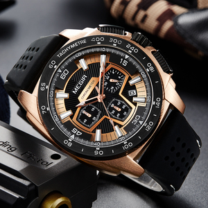Image 5 - MEGIR Chronograph Mens Army Military Sports Watches Fashion Casual Silicone Strap Quartz Wrist Watch Clock Relogio Masculino