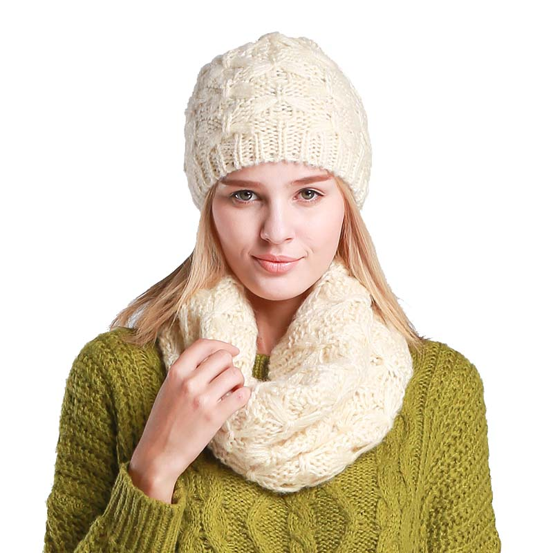 2019 New Set Hat And Scarf For Women Winter Fashion Woollen Knitting Beanie Winter Cap And Scarf Women Beanies For Ladies