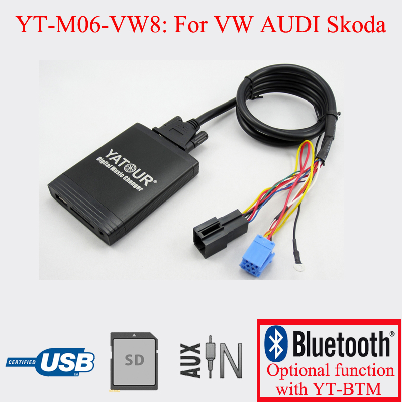 Yatour car stereo USB SD AUX Player for VW AUDI Skoda Seat 8PIN