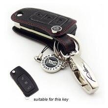 Черный цвет Натуральная Кожа Флип Удаленный Случае Ключ Fob для FORD Focus MONDEO Fiesta S-MAX C360 автоаксессуары АДДАН новый прибытие