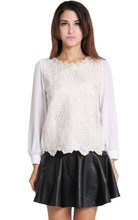 Hot New Autumn Spring Women Embellished Lace Shirt Tops Elegant Long Sleeves Blouses