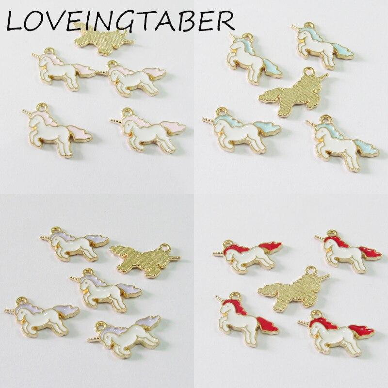 ( Choose Color Frist ) Wholesale 20mm*11mm 30pcs/lot Gold Alloy Color  Small Eanmel Unicorn Charms
