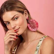 European and American popular tennis racket lafite grass knitting fashion earrings