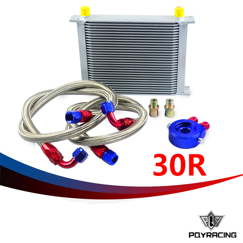 PQY RACING- AN10 OIL COOLER KIT 30RWOS TRANSMISSION OIL COOLER SILVER+OIL FILTER  ADAPTER BLUE + STAINLESS STEEL BRAIDED HOSE pqy store an10 oil cooler kit 25rwos transmission oil cooler silver oil filter adapter blue pqy3825b