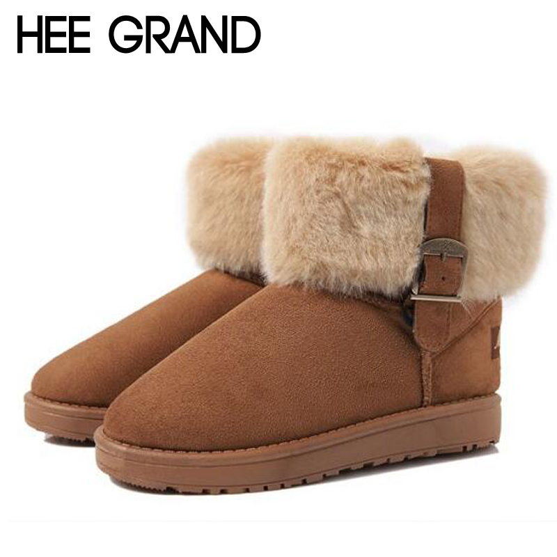 HEE GRAND Women Boots Warm Fur Cotton Winter Shoes High Quality Cozy Women's Soft Ankle Snow Boots Flat Shoes Woman XWX378 hee grand inner increased winter ankle boots warm fringe fashion platform women snow boots shoes woman creepers 3 colors xwx6180