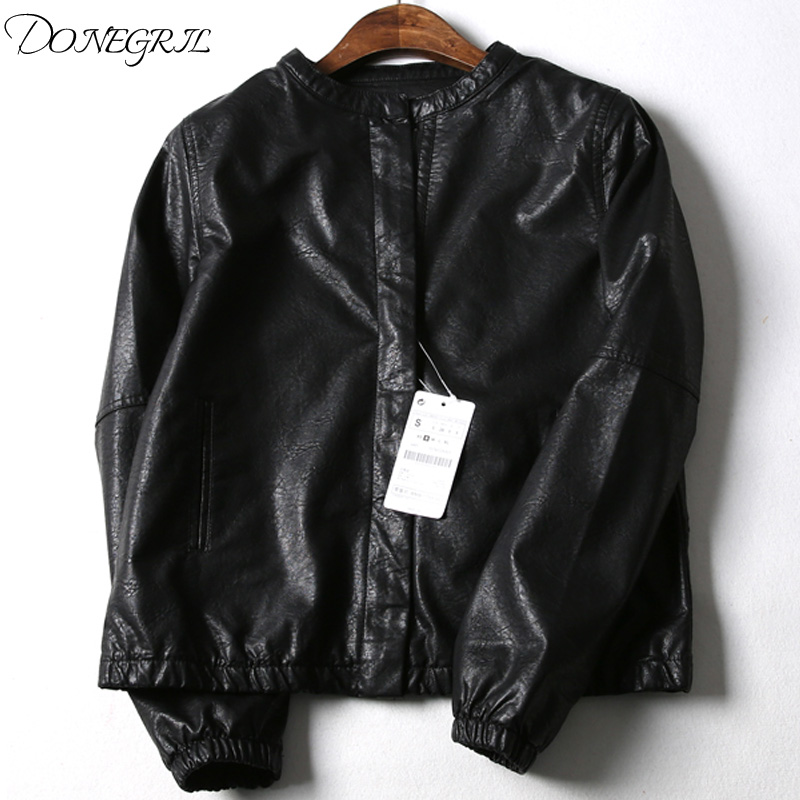 Spring and autumn 2019 new Korean version of student bicycle PU   leather   jacket jacket