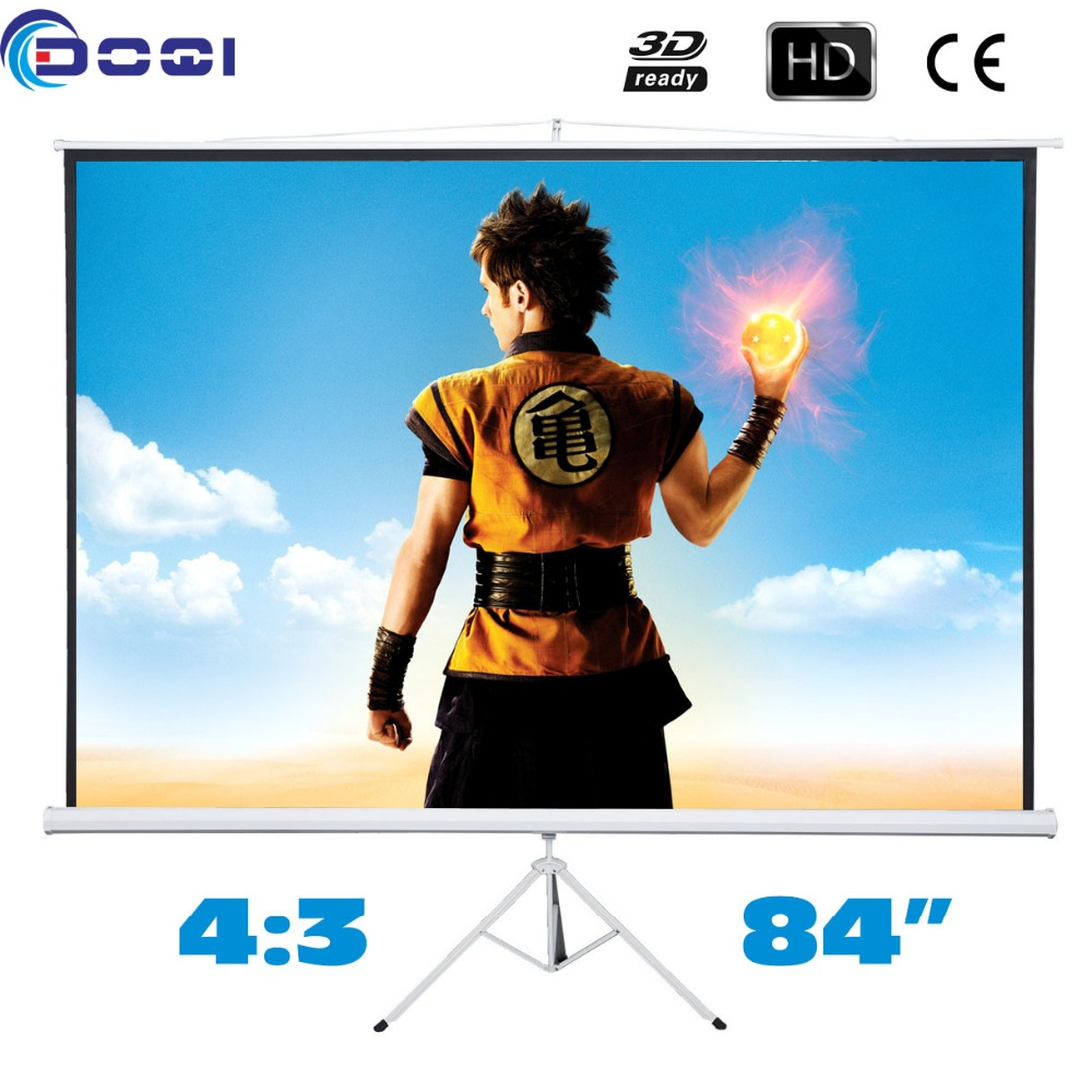 Prime Quality 84 inches 4:3 Portable Tripod Projector Screen HD Floor stand Bracket Projection Screens MW Foldable 72 inches and the authenticity of the tripod white plastic screen projector projector screen