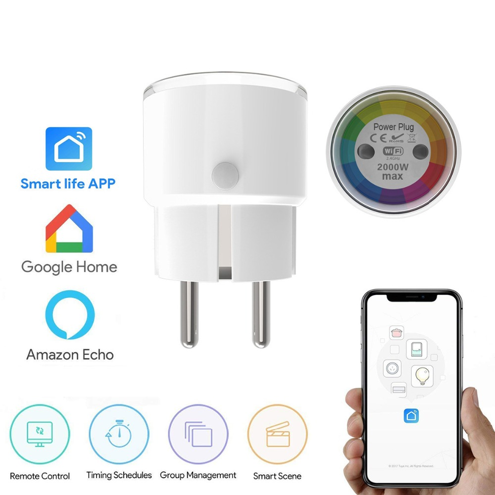 Tuya Smart Life Mini Smart Socket Wifi EU Plug 2000W 10A Power Outlet Timer Switch Voice Control Work With Alexa Google IFTTT