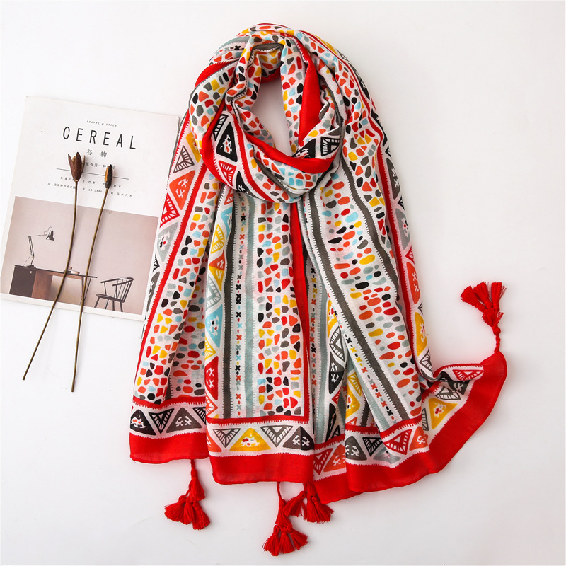 Women Cotton Large Foulard Floral Warm Scarves For Female Navy Color Soft Blanket Wrap Long Shawl