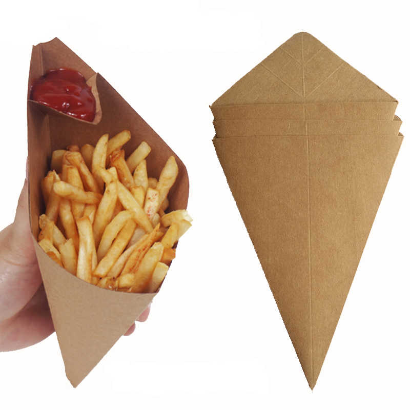 50pcs Creative Cone Shape Bag Disposable French Fries Box Waterproof And Anti-Oil Food Grade Kraft Paper Box Fried Food Package