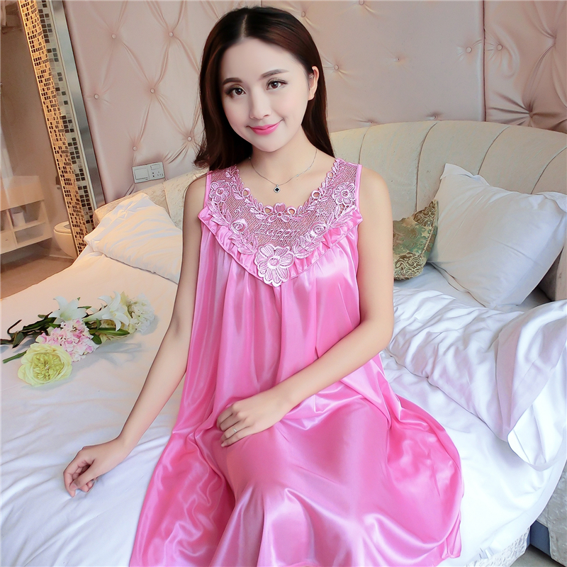 Plus Size 4XL Women's Sexy Silk Nightgowns Ladies Lace Long Sleepwear 2018 Summer Girls Sleeveless Loose Sleepdress Sleepshirts