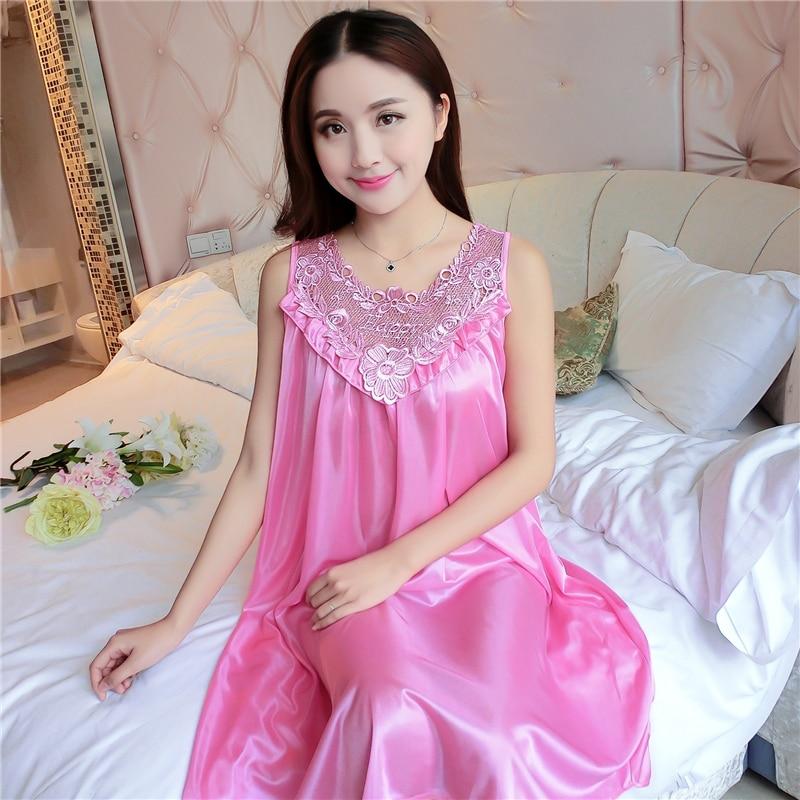 Plus Size 4XL Women's Sexy Silk   Nightgowns   Ladies Lace Long Sleepwear 2018 Summer Girls Sleeveless Loose Sleepdress   Sleepshirts
