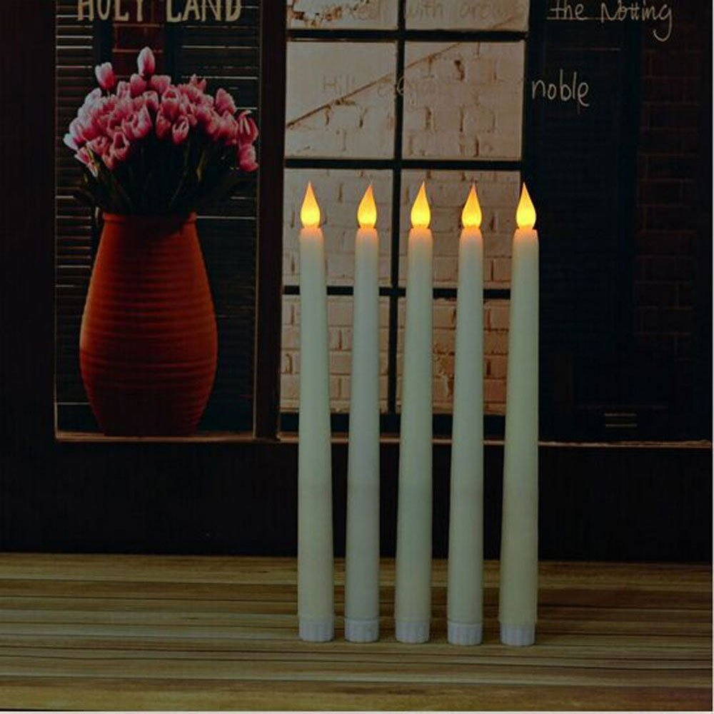yellow flickering led flameless wax coverd taper candles amber flickering lights105 inch height