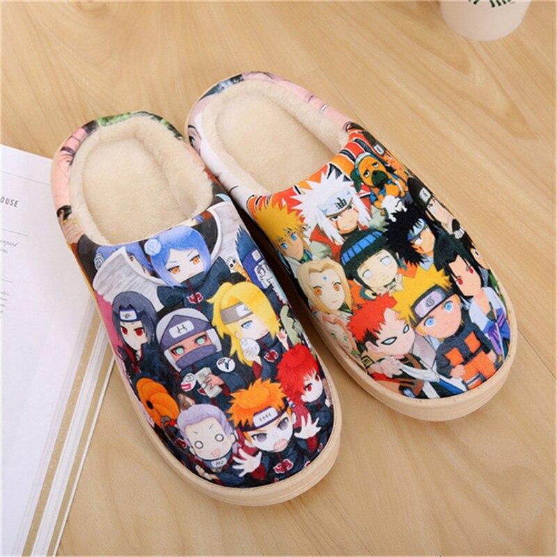 Drop Ship Anime Cosplay Chaussures Naruto Akatsuki Gintama Dragon Balle Une Seule Pièce Chaussures Chaudes En Peluche Antidérapant Maison Pantoufles Hommes Femmes