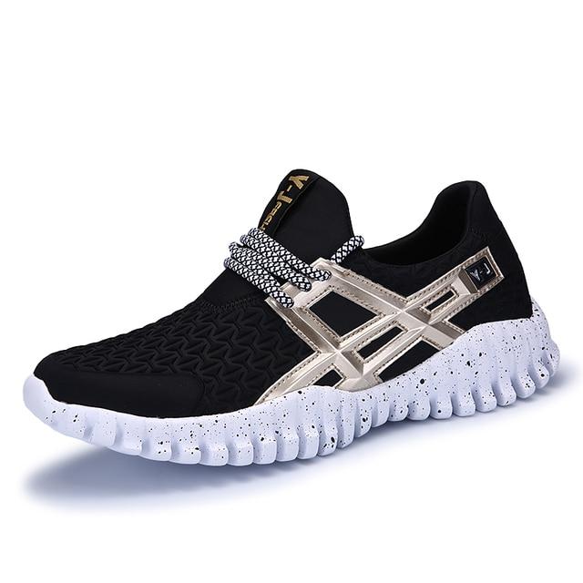 Trend pria bernapas olahraga sepatu pria menjalankan sepatu merek baru keren  trainer sneakers hitam putih 57094f608a