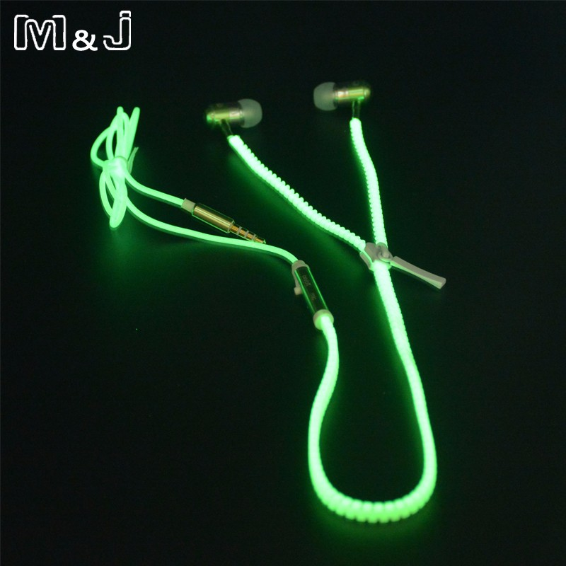 M&J High Quality Full Glowing Auricular Luminoso Light Metal Zipper Ear Phones Glow In The Dark para Iphone Samsung MP3 con micrófono
