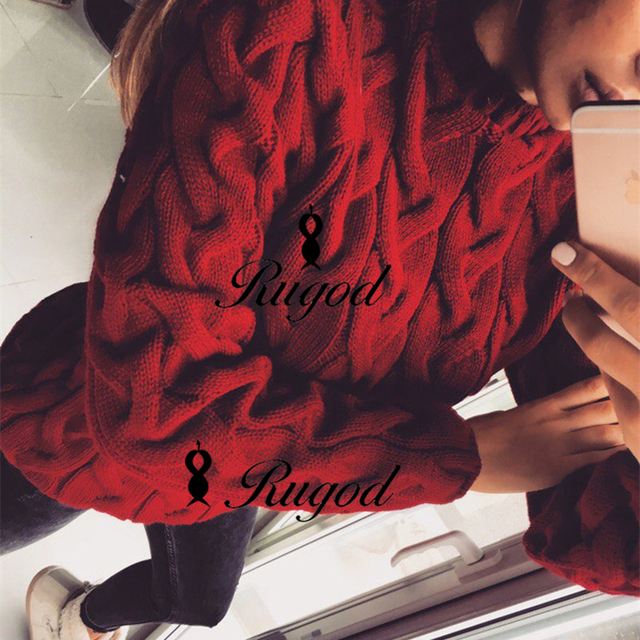 RUGOD 2018 Spring Twisted Knitted Sweater for Women Fashion Multi Colors O Neck Long Sleeve Loose Pullover Tops Pull Femme Hiver