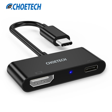 CHOETECH USB Type C to HDMI Adapter Cable for Samsung S8, 4K*2K 60Hz USB-C to HDMI Adapter for MacBook for Chromebook Pixel(China)