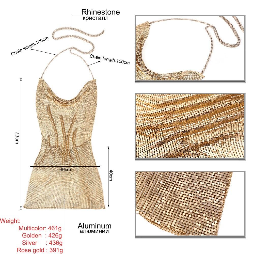 Image 5 - Sexy Bikini Beach Bling Sequins Hollow Halter Backless Body Chain  Dress Crystal Rhinestone Necklace Women Body Jewelry NightclubBody  Jewelry