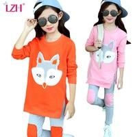 Girls Clothing Sets Kids Girls Clothes Cartoon Fox Shirt Pants 2016 New Spring Big Girls Outfit