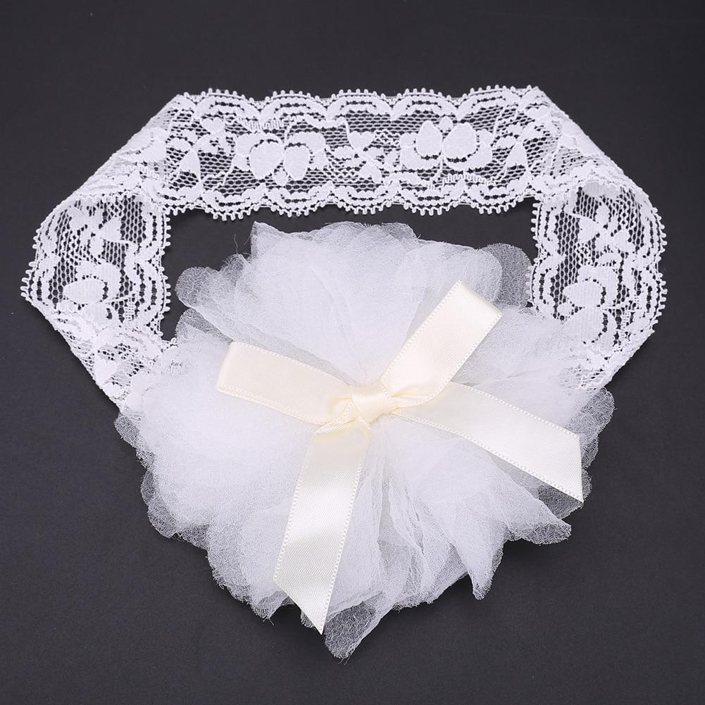 1pc Elastic Newborn Infant Baby Girls Nest Bowknot Headbands Baby Kids Flower Lace Headwear White Pink Headwear