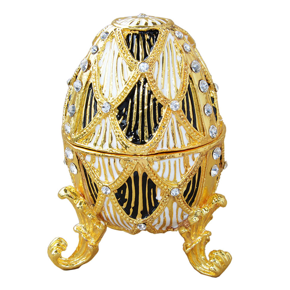 Modern Faberge Golden Egg Faberge Egg Trinket Ring Box