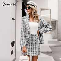 Simplee Vintage tweed plaid blazer femmes boutons double poitrine bureau dames blazer vestes hiver travail porter femme blazer manteaux