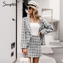 Simplee Vintage tweed plaid blazer women Buttons double breast office ladies bla