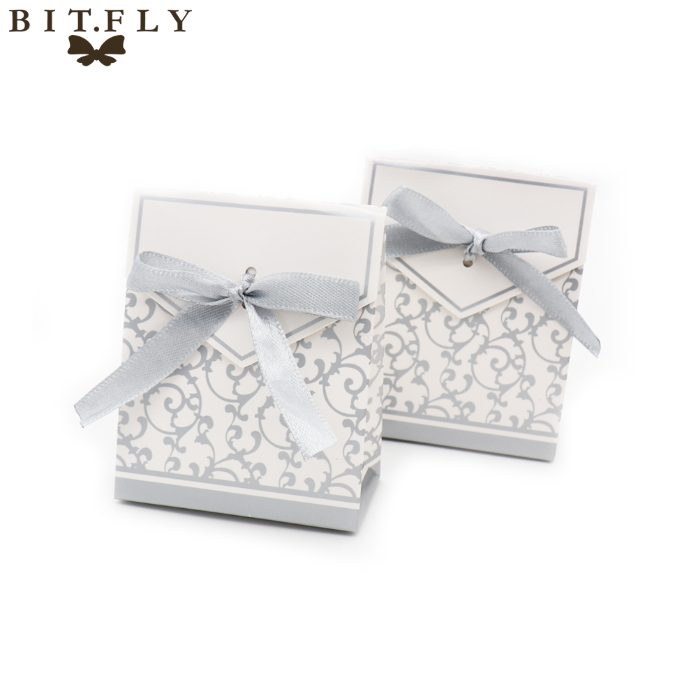 50pcs flower Chocolates Cookie Candy Box Wedding Decor DIY Gift Bag Party Baby shower birthday Favors with Ribbon Gold silver