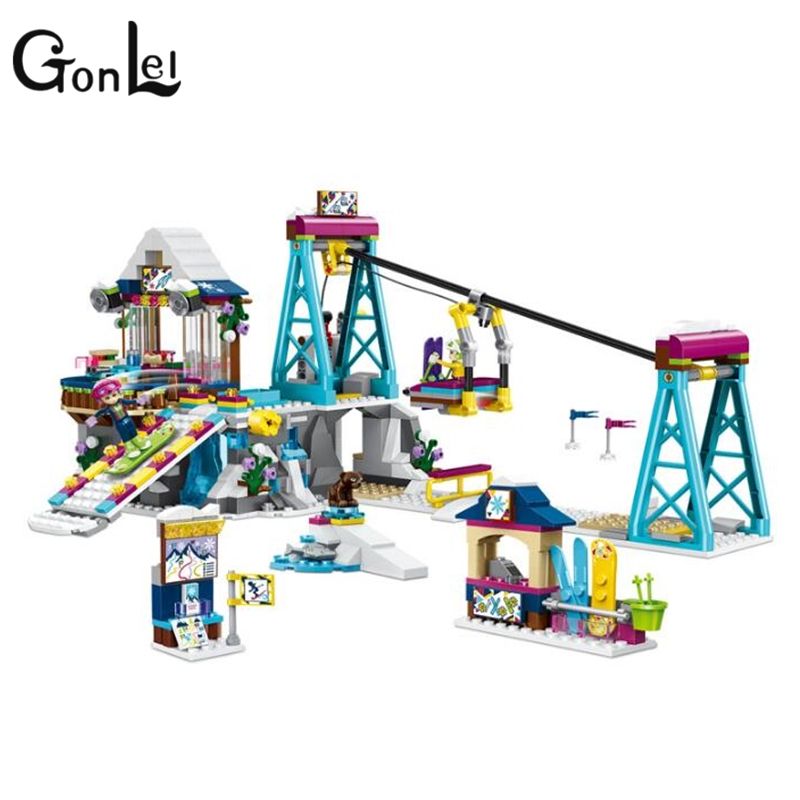 GonLeI 37028 Girls Friends game bricks Snow Resort Ski Lift model Building Blocks Bricks Toy 41324 compatiable legoings Friends