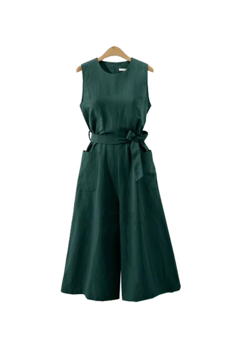 Casual Loose Plus Size Wide Leg Rompers Elegant Sleeveless Women Jumpsuits 2018 Summer Solid Waist Belt Playsuits 1