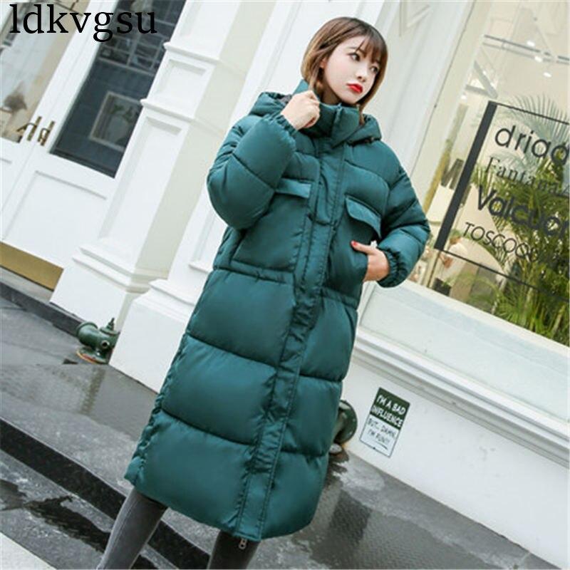 New 2018 Winter Jacket Women's Coats Cotton Padded Clothing Women Winter Korean Loose BF Long Hooded Parkas Coat V17