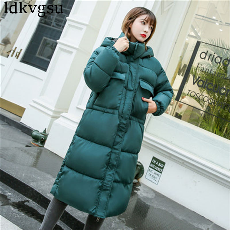 New 2019 Winter Jacket Women's Coats Cotton Padded Clothing Women Winter Korean Loose BF Long Hooded Parkas Coat V17