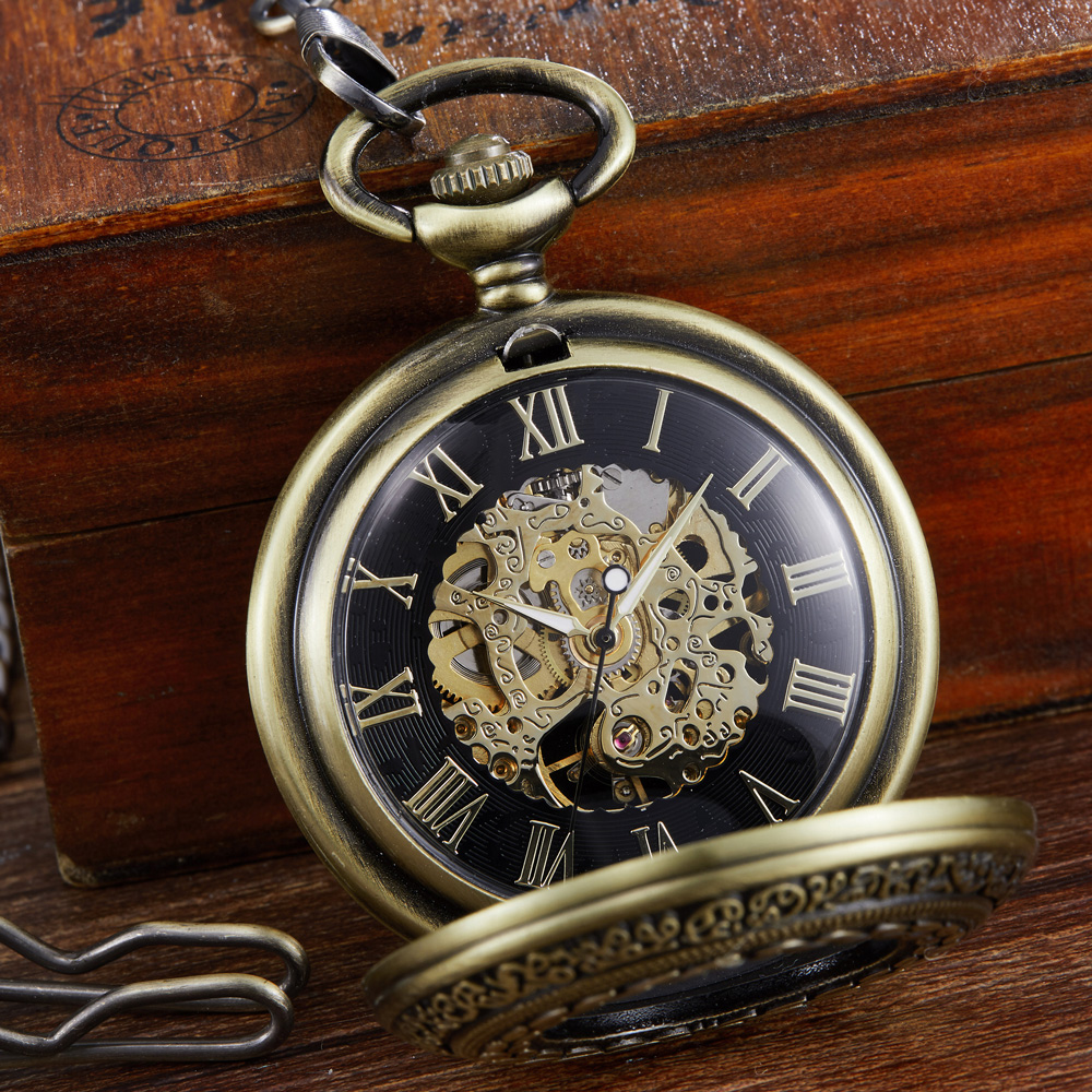 Steampunk Skeleton Mechanical Pocket Watches Half Hunter Hand Winding FOB Watch Pendent Chain relogio de bolso Gift for Men
