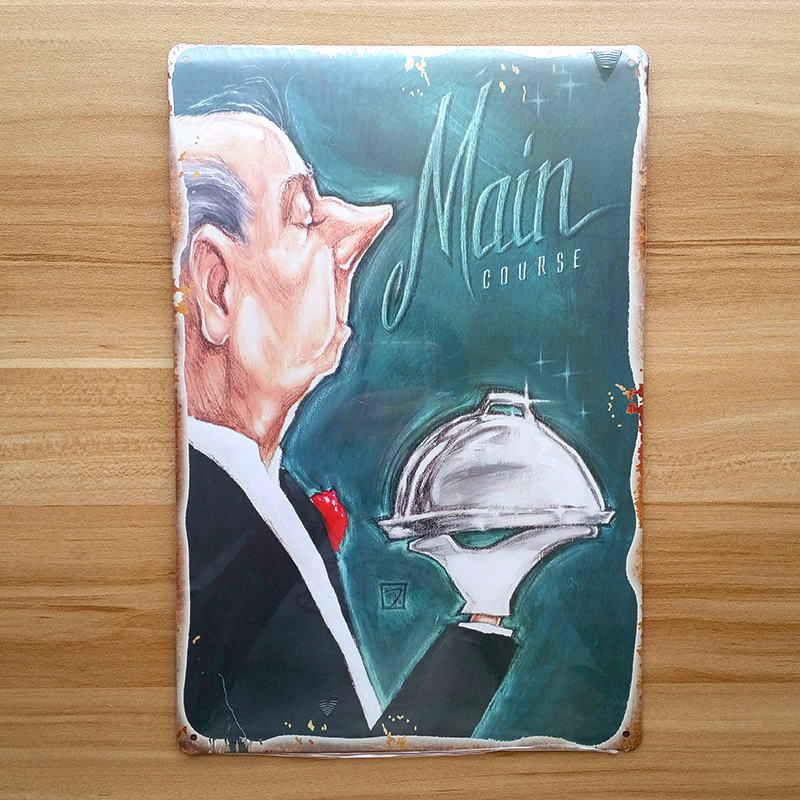 Vintage painting Metal wall art decor retro poster home bar coffee Chef cooking iron restaurant decoration 20*30CM free ship