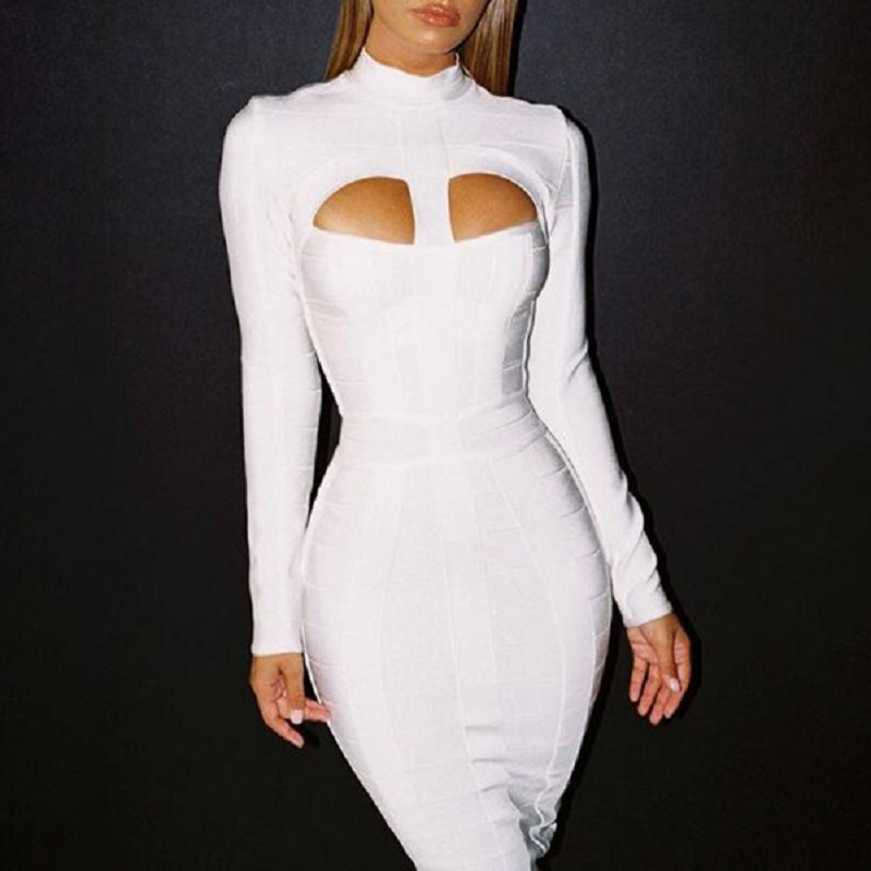 BEAUKEY Fashion Top quality White Long Sleeve Hollow Out Sexy Mid Calf Bodycon Party Bandage Dress