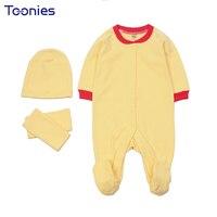 الوليد الملابس 4 قطع الطفل التفاف القدم القصير + قبعة + الحليب منشفة الرضع حللا عالية الجودة القطن طويل الأكمام طفل منامة