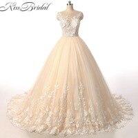 Casamento Vintage Dantel Gelinlik 2018 Kolsuz Aplike Balo Gelin Elbise vestido de novia