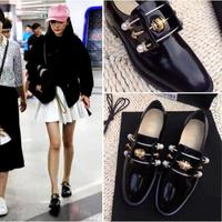 Autumn Fashion Black Leather Casual Shoes White Bead Metal Decoration Women Flat Shoes Celebrity Love Dress