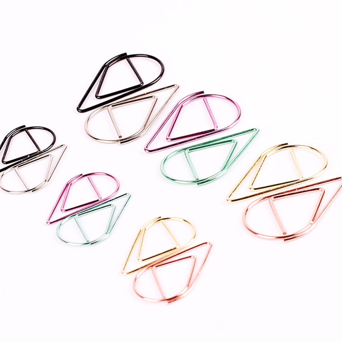 FangNymph 10PCS/Pack Metal Kawaii Drop Shape Paper Clips Multiple Colors Bookmark  Office Shool Books Stationery Marking Clips